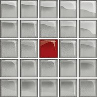 Glass Silver/Red Mosaic A New