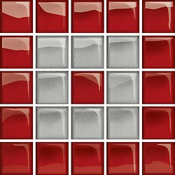 Glass Silver/Red Mosaic C New